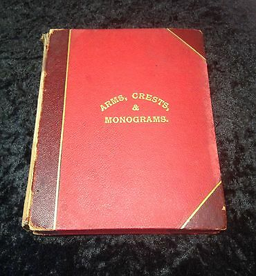 Rare Old Arms Crests & Monograms Album / Scrap book from the 1800's onwards