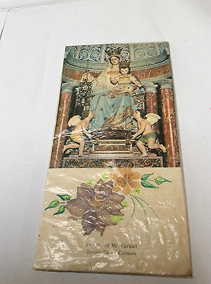 Vintage Religious Holy Card with Genuine Flowers of Mt. Carmel