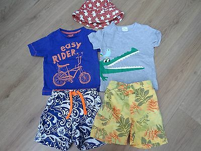 Baby Boys Age 12-18 Months Next Star Print Hat + T-Shirt + Bnwt Shorts Bundle