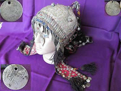 1800s ANTIQUE TURKISH ISLAMIC LADIES SILVER WEDDING JEWELRY HEAD PIECE XTR.RARE