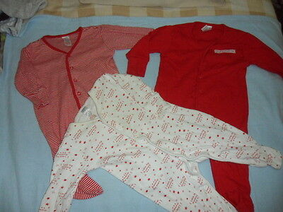 3 red baby boys sleepsuits age 0-3 mth