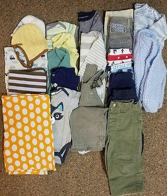 Lot of Boys 6-12 Month Clothes Hats Blankets 22 Pieces