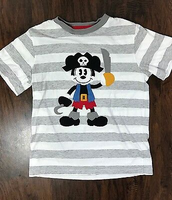 Disney Parks Boys M Pirate Mickey Mouse Applique Shirt Short Sleeve Gray Striped