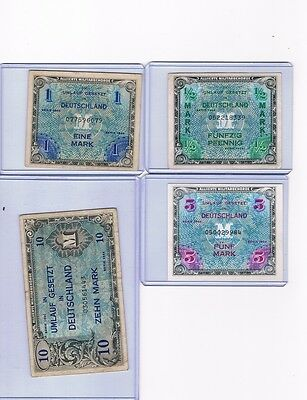 WWII 1944 Germany ALLIED OCCUPATION Lot of (4) : 1/2 , 1 , 5 , 10 Mark