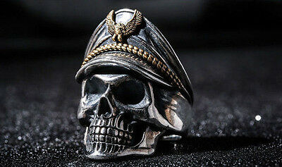 NEW! CUSTOM 925 STERLING SILVER OFFICER SOLDIER LARGE SKULL RING (all sizes)