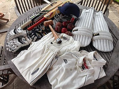 Cricket Job Lot Bat Helmet Clothes Balls Hammer Shin Pads Slazenger Kookaburra