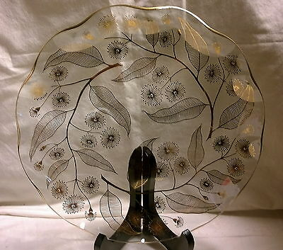Lovely Vintage Chance Glass Gold Calypto Cake Plate Michael Harris 24Cms