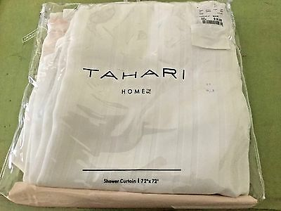 """Tahari HOME Cotton Blend Fabric Shower Curtain  White/ pale pink New 72""""x72"""""""
