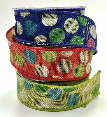 Bertie's Bows Dotty 38mm Burlap Wired Edged Ribbon - per metre or on a 10m roll
