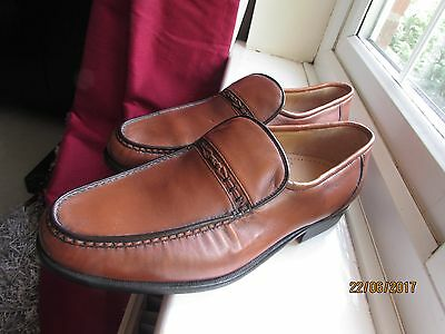 New Mens Brown Leather Barker England Loafer Shoes 8 42 Stitching Trendy Work