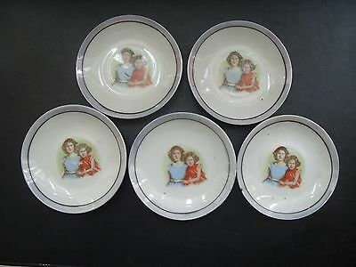 5 x Princess Elizabeth & Margaret 1930's china dolls tea saucers
