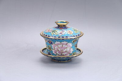 Exquisite collection Chinese Cloisonne painted Flower cup C268