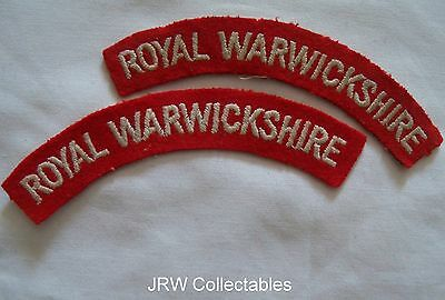 "Original WW2:""ROYAL WARWICKSHIRE REGT SHOULDER TITLES"" (Army Battledress Blouse)"