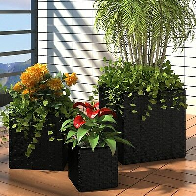 3pc Black Wicker Rattan Planter Box Square Garden Pot Plant Flower Outdoor Set
