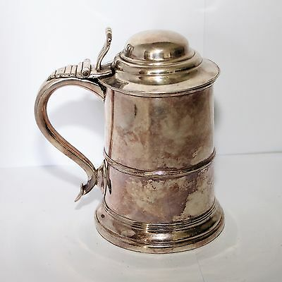 Antique Large Sized Silver-Plated & Copper Tankard Gc
