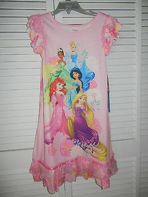 Disney Store 5 Princesses Pink Nightshirt/gown For Girls Size 7/8  Nwt Reduced!!