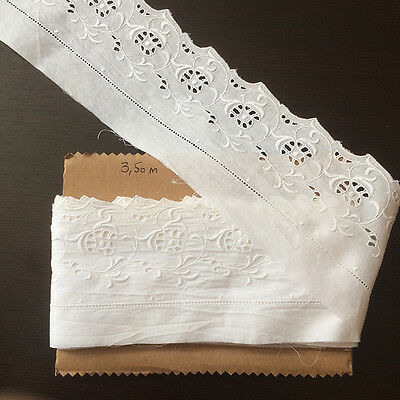 Métrage Broderie Anglaise Blanche Ancienne 3,50 m - Antique Embroidery