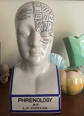 VINTAGE PHRENOLOGY REPRODUCTION HEAD BUST By L.N. FOWLER. W