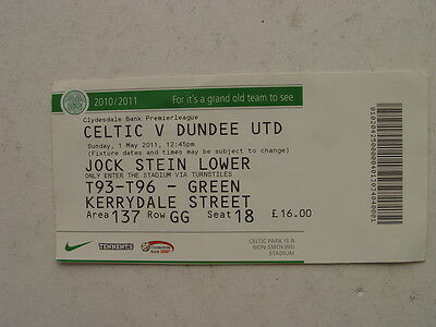 Celtic v Dundee United 2010/11 SPL May Ticket