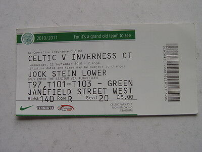 Celtic v Inverness 2010 CIS Cup Ticket