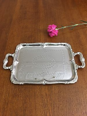 Vintage Metal Silver Serving Tray.ornate Rectangle Shape With Handles