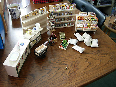 1/12th scale doll house shop furniture set bike till plus food USED