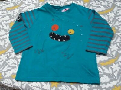 Baby boy long sleeve top teal with monster.logo age 9 months