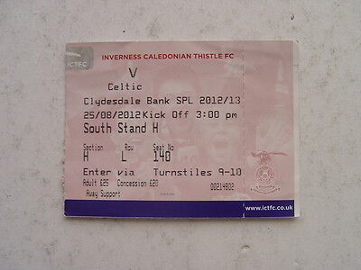 Inverness Caledonian Thistle v Celtic 2012/13 SPL August Ticket