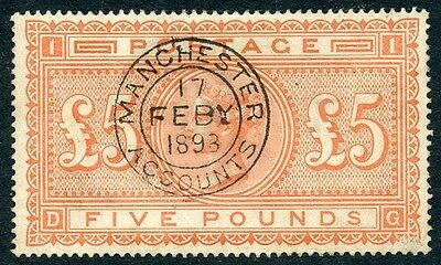 1882 Scarce £5 orange attractive used - Manchester datestamp SG 137, cat. £4750