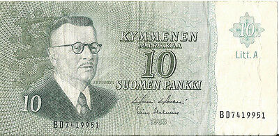 FINLAND 10 Mark Banknote 1963