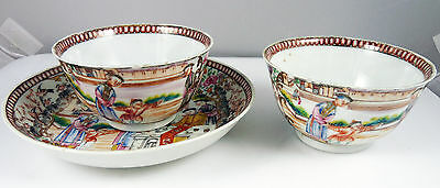 Antique Chinese Famille Rose Porcelain Tea Bowls and a Saucer