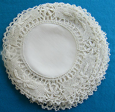 8 Antique White Elaborately Crocheted Doilies With Linen Centers Laundered 10""