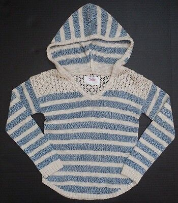 NEW Justice ivory blue striped hoodie sweater long sleeve girls size 5 NWT