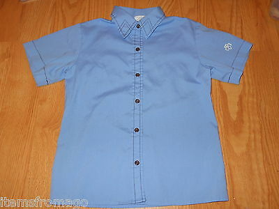 Size 10 - Brownie Girl Scout Blue short Sleeve Blouse 01243