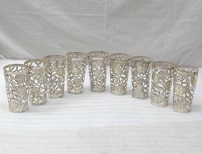 Vintage Set Of 9 Sterling Silver 925 Roses Buds Drinking Glass Cups Overlay Snr