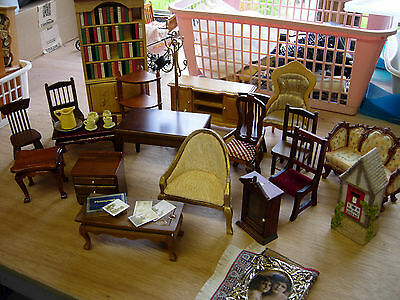 1/12th scale doll house joblot of 20 furniture sofa bookcase chairs table  USED