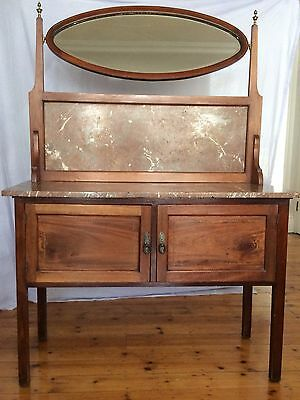 Edwardian inlaid mahogany marble topped wash stand/vanity unit  with mirror