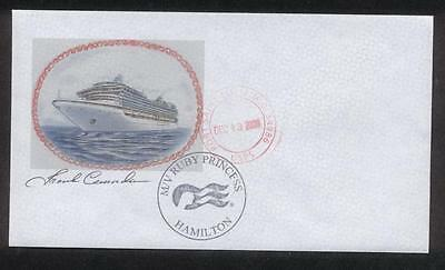 mv Ruby Princess . Cruise Ship Postal Cover, Artist Signed Ocean Liner Boat