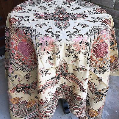 Antique Chinese Tapestry Textile Silk Woven Scenic Phoenix Asian Floral Vintage