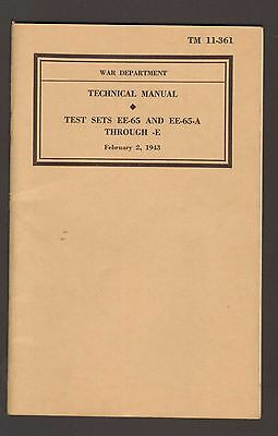 1943 War Department Technical Manual Test Sets EE65 EE65A TM 11-361