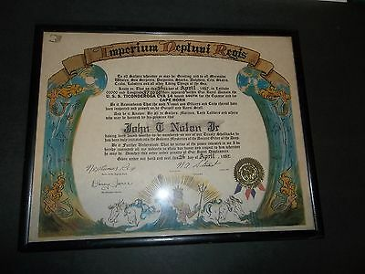 IMPERIUM NEPTUNI REGIS FRAMED Order of the Deep SHIP ART 1957 USS TICONDEROGA