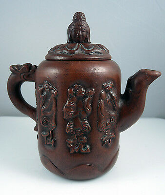 Chinese Brown Clay Yixing Teapot - Carved Figures - Seal Mark