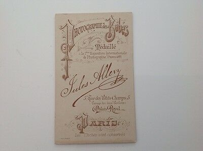 19th century French photographer's business card Jules Allevy, Paris with photo