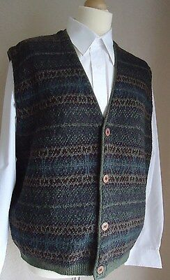 """1940's WWII Vintage / Retro Sleeveless Knitted Waistcoat 46"""" Chest"""