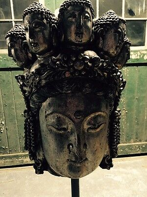 Buddha Head Statue Large Wooden Antique