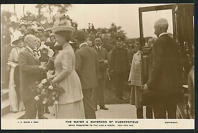 Postcard - Mayor & Mayoress of Huddersfield presented to King & Queen 1912