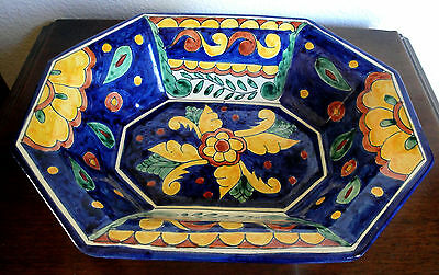 Vintage Ceramic Hand Painted Octagon Fruit Bowl Dish Vibrant Colors Spain Italy