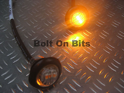 2 Button 12v Amber LED CLEAR Marker light/lamps Indicator/Repeater/kitcar/orange
