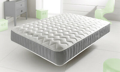 New Grey Memory Foam Topped Sprung Mattress  3Ft 4Ft 4Ft6 Double 5Ft King Uk Q