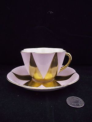 Shelley Dainty Gold Star With Pale  Pink  Cabinet Tea Cup And Saucer